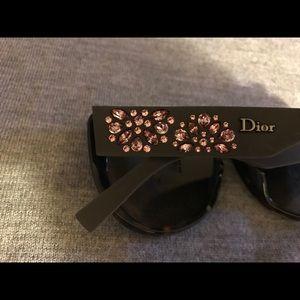 Dior Woman's Sunglass Havana Frame Pink Crystals