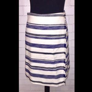 LOFT White Skirt w/Black & Blue Stripes Size 4P