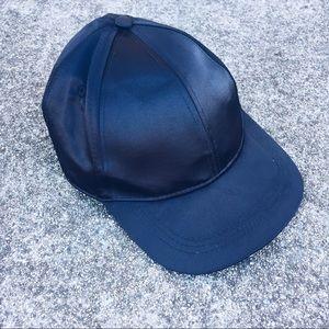 NWOT black satin adjustable baseball cap / dad hat