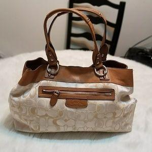 Coach Penelope Signature Op Cream/Tan Shoulder Bag