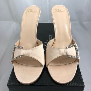 Delman nude color satin evening sandals w/ crystal