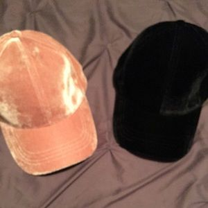 Velour hats, one black, one pink NWT!!!
