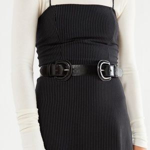 urban outfitters double buckle patent belt