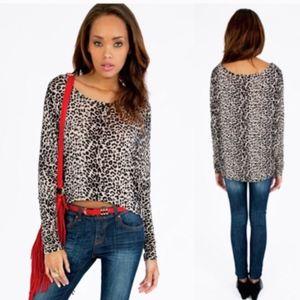 Tobi Leopard Print Domain Sleeve High-Low Top