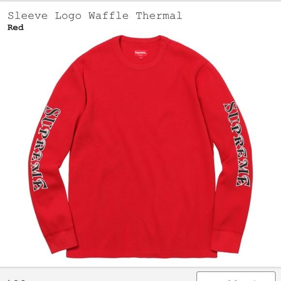 37cb6315c898 Supreme Shirts   Sleeve Logo Waffle Thermal Red Medium   Poshmark