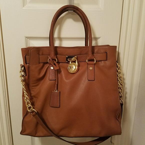 3b2e5029479d Michael Kors Bags | Large Leather Hampton Bag In Luggage | Poshmark
