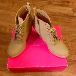 Stacked lace-up booties-NEW NEVER WORN