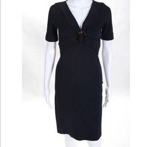 V-neck GUCCI Navy Midi Dress