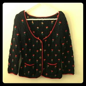 Betsey Johnson flowered embroidered cardi