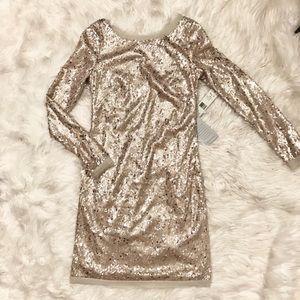 NWT Gold Sequin Long Sleeve Dress