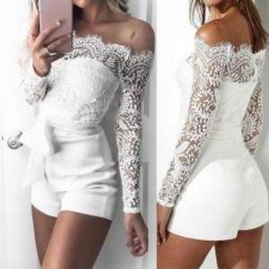 Pants - White Lace Rumper