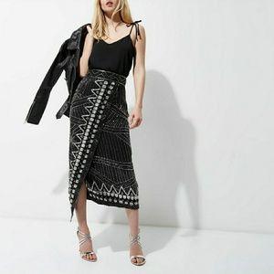 NWT River Island Black Beaded Skirt