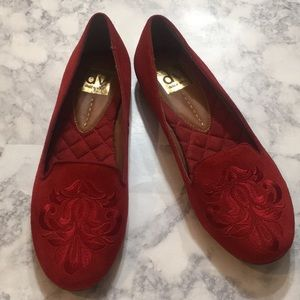 DV Dolce Vita Red Suede Gelle Smoking Flats