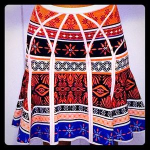 DVF thick bandage structured Aztec skirt