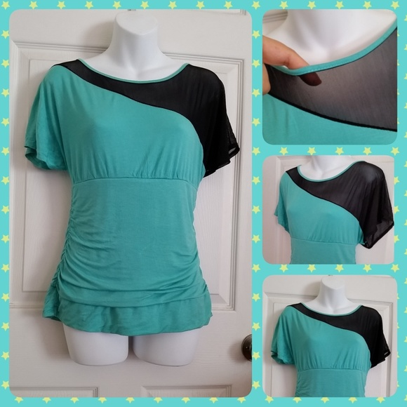 Annabelle Tops - Teal & Black Asymmetrical Mesh Blouse Top