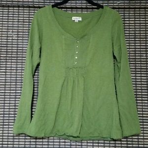 Olive Green Long Sleeve Tunic Blouse Size S