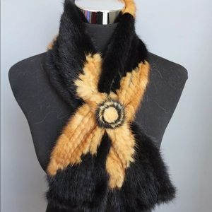 Accessories - New! Mink Fur Scarf/Stole • Black/Yellow Gold