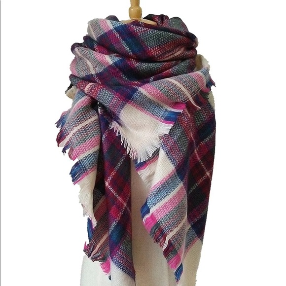 30a7653d1c8 New Oversized plum/blue Plaid Blanket Scarf/Shawl Boutique