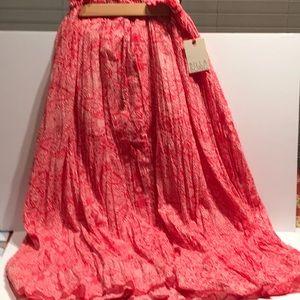 Billabong red/white long pleated skirt