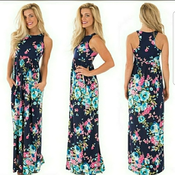 0f04913aed Bellamie Navy Floral Racerback Maxi Dress