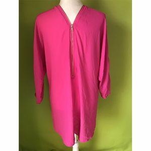 Xtaren Gold Zipper Front Back Pink Shift Dress M
