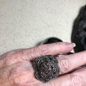 0949aa001 CFJ Jewelry | Sterling Marcasite Flower Ring | Poshmark