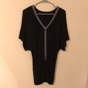 Black studded tunic top