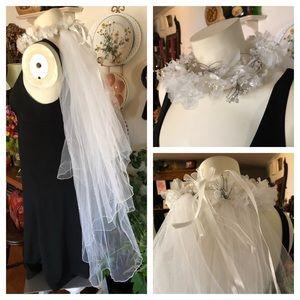 Bride or Flower Girl White Wedding Crown Veil