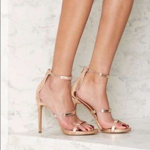 NASTY GAL IN FOR THE THRILL ROSE GOLD STRAPPY HEEL