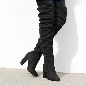 Shoes - Black FauxSuede Thigh HighBootHeels