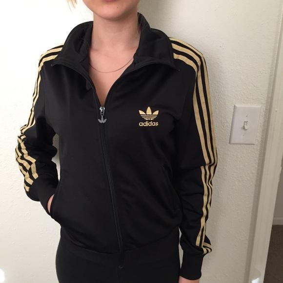 cf3dcb3a0901 Adidas Originals Tops - ADIDAS ORIGINALS GOLD BLACK ZIP TRACK JACKET