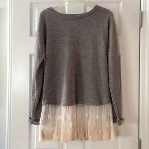 Cozy Grey sweater w/ Lace bottom ~ Blu Pepper~ M