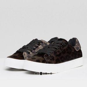 Leopard Velvet Platform Sneakers