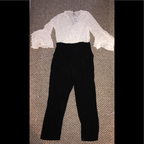 Zara Pants - White & Black jumpsuit from Zara