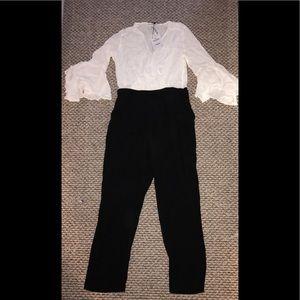 White & Black jumpsuit from Zara