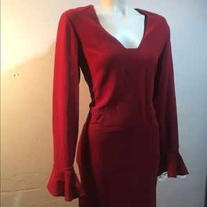 Diane Von Furstenberg Red Long Sleeve Dress Sz 12