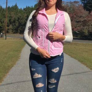 Jackets & Blazers - << Pink Checkered Plaid Puffer Vest >> NWT