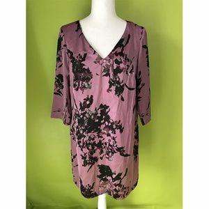 Mango 3/4 Sleeve Floral Purple Shift Dress L