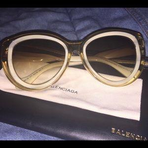 Balenciaga SS2016 Cat Eye Sunglasses In Champagne