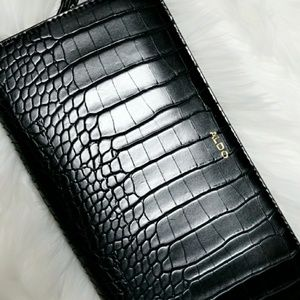 Leather Large Crocodile Clutch ALDOS- Brand New
