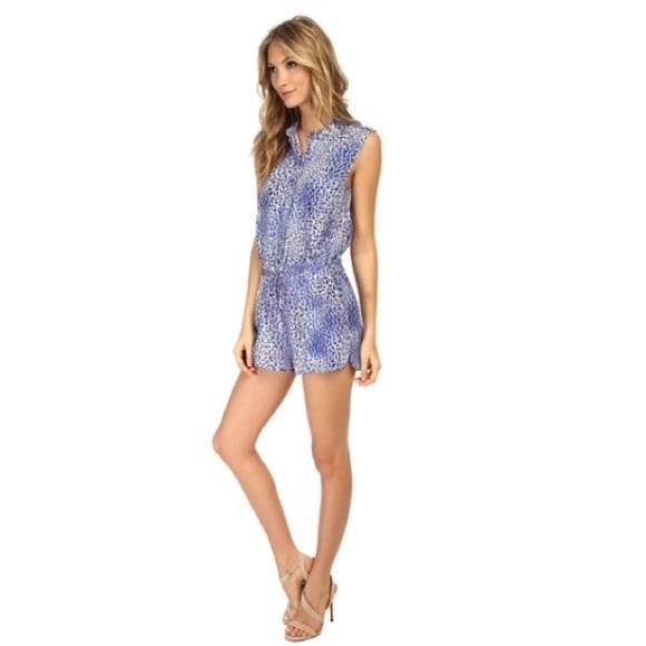 65e38134184 Rebecca Taylor Blue Silk Leopard Printed Romper. M 5a26b59d291a359178019ca0
