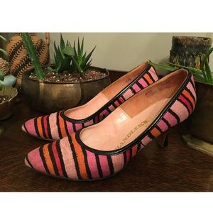 Vintage Pink Orange Black Striped High Heels Pumps