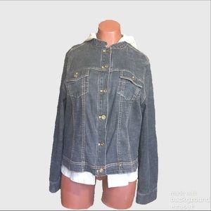 Susan Bristol⚜Sz XL Jean Jacket W/Removable Hoodie
