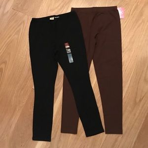 Other - 2 Pair Girls Leggings Black & Brown Size 10/12
