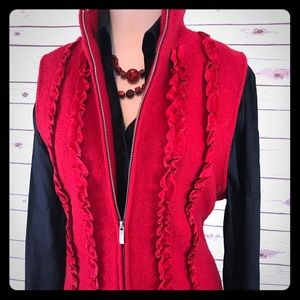 Coldwater Creek Red Ruffle Wool Zip Vest Large NWT