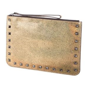 NEW Rebecca Minkoff Kerry Gold Glitter Clutch Bag