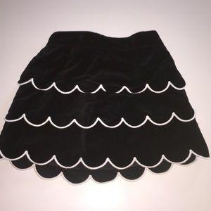 Gymboree black velvet skirt tiered white trim 2t
