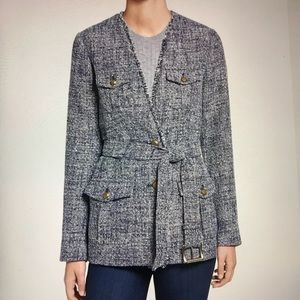 Michael kors Fringed Belted Tweed Blazer Jacket