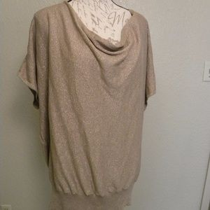 Women's Size 2X Shiny Knit Top Gold Waterfall Neck