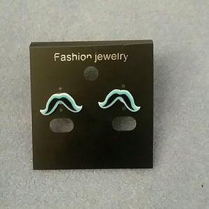 Jewelry - Blue Mustache Stud Earrings